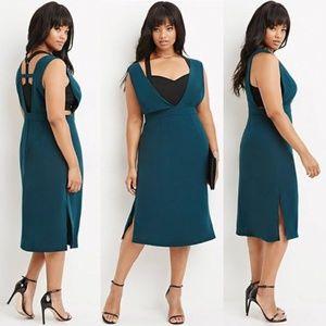 Deep V  Midi Dress, Forever21 Size 3X (2X)